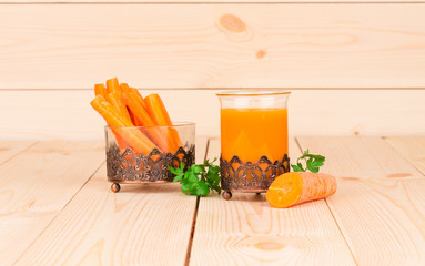 Fresh tasty carrot juice.