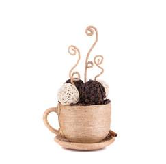 Handmade textile coffee cup.