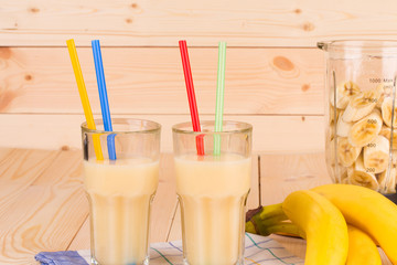Banana juice and blender.