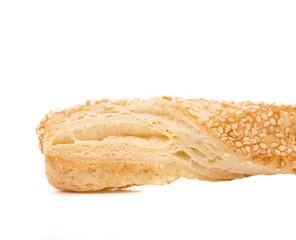Close up of crispy cheese cracker.