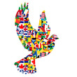 Peace concept with dove made of World flags - 70500694
