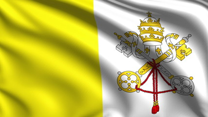 flag of the Vatican City with fabric structure; looping