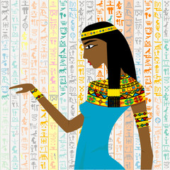 Ancient Egyptian woman over a background with Egyptian hieroglyp