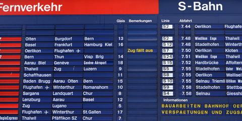 tableau d'affichage...gare ferroviaire de zurich