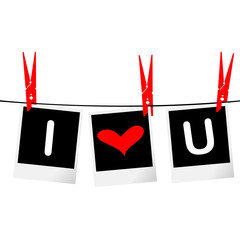 I love you concept with photo frames hanging on rope
