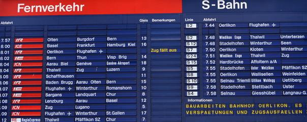 gare de zürich...tableau d'affichage des départs