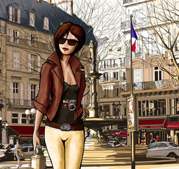Young woman visiting Paris