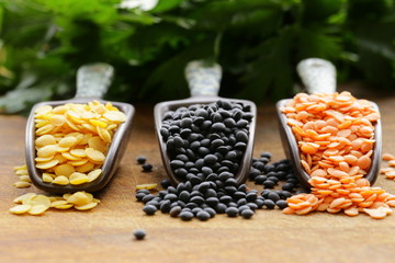 red, yellow and black lentils on a wooden background