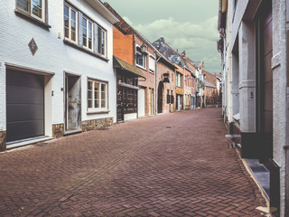 Empty old street of Maaseik. Belgium