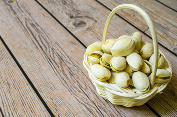 Small basket of pistachios