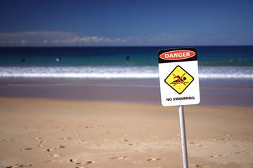 No swimming sign at Beach
