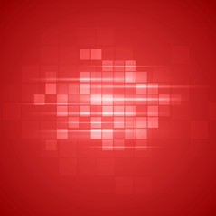 Red technical squares background