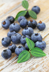 Blueberries on wooden surface