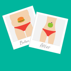 From fat to skinny  Healthy unhealthy food instant photo Flat