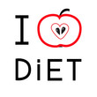 Red apple with heart shape. I love diet card. Flat design.
