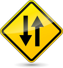 Vector two way yellow sign