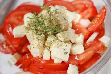Tomato salad with mozarella cheese