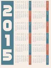 Simple 2015 calendar design