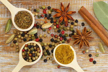 Indian spices on wooden surface