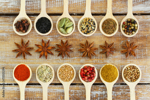 Selection of Indian spices on wooden spoons - 70503294