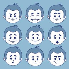 Set of nine facial expressions