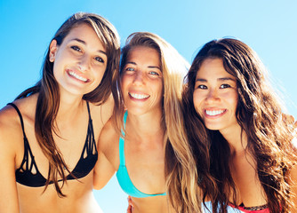 Group of Pretty Girls in Bikinis, Best Friends