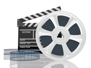 3d illustration of cinema clap and film reel