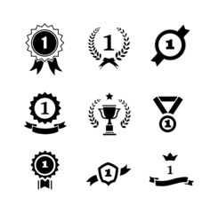 Set of black and white circular  winner emblems