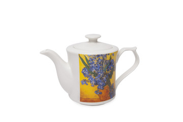 Pottery kettle on white background