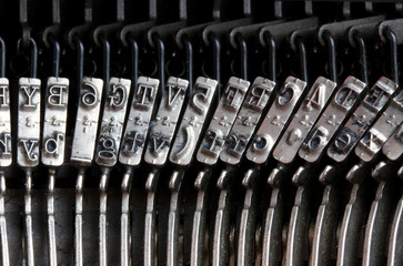 Detail of the old mechanical typewriter