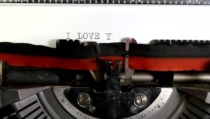 Written I LOVE YOUmade with the old typewriter