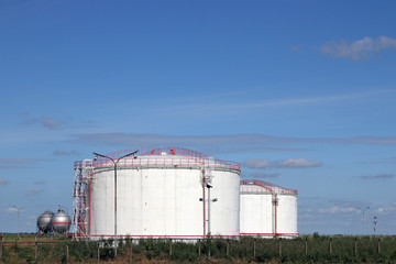 petrochemical plant oil tanks on field