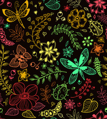 Seamless texture with flowers and butterflies