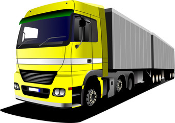 Vector illustration of yellow truck.