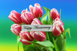 Happy Anniversary card with pink tulips on colorful background