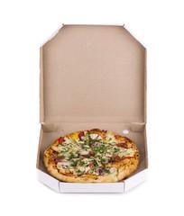 Pizza in box.
