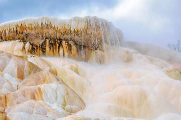 Yellowstone, waterfall, Mammoth Hot Springs,  Wyoming, USA