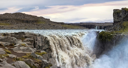 Dettifoss waterfall in Vatnajokull National Park of Iceland