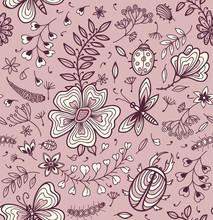 Texture homogène avec des fleurs et des papillons.