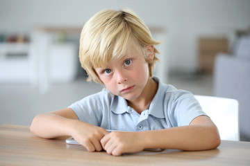 Portrait of sweet blond little boy