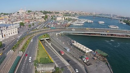 aerial istanbul turkey eminonu mosque traffic ship galata