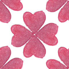 Watercolor seamless pattern with hearts. Vector illustration