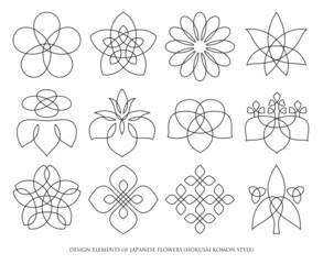 DESIGN ELEMENTS of JAPANESE FLOWERS (HOKUSAI KOMON STYLE)