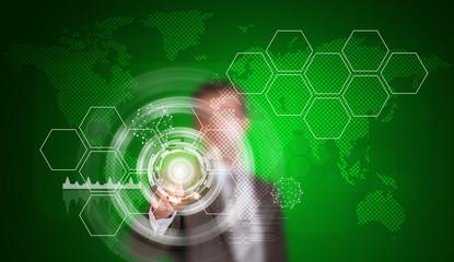 Businessman in suit finger presses virtual button