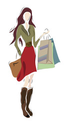 Woman on Shopping with bags. Final Sale