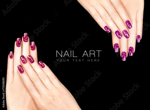Colorful Nail Art. Crackle Nail Lacquer. Tattoo - 70508695