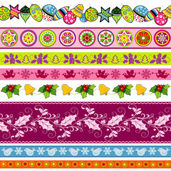 Set of New Year and Christmas ribbons