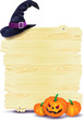 Halloween signboard with pumpkins and hat