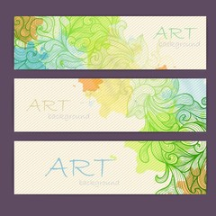 Set of ornamental artistic watercolor banners