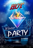 Disco background. Winter Cocktail party poster